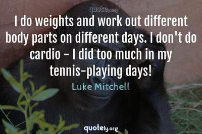 Photo Quote of I do weights and work out different body parts on different days. I don't do cardio - I did too much in my tennis-playing days!