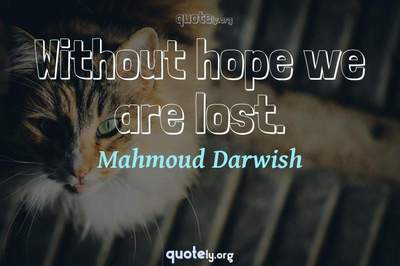Photo Quote of Without hope we are lost.