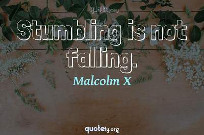 Photo Quote of Stumbling is not falling.