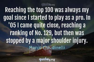 Photo Quote of Reaching the top 100 was always my goal since I started to play as a pro. In '05 I came quite close, reaching a ranking of No. 129, but then was stopped by a major shoulder injury.
