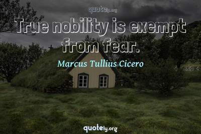 Photo Quote of True nobility is exempt from fear.