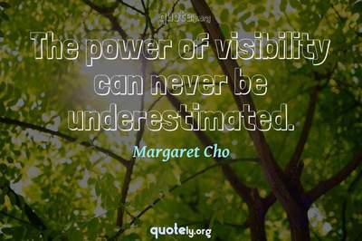 Photo Quote of The power of visibility can never be underestimated.