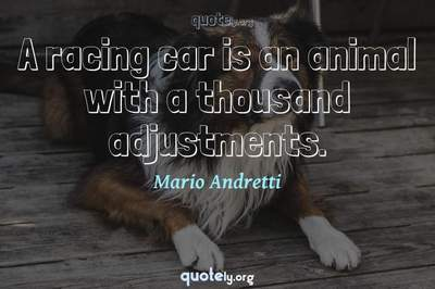Photo Quote of A racing car is an animal with a thousand adjustments.