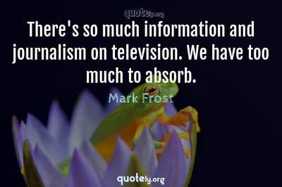 Photo Quote of There's so much information and journalism on television. We have too much to absorb.