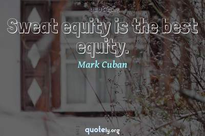 Photo Quote of Sweat equity is the best equity.