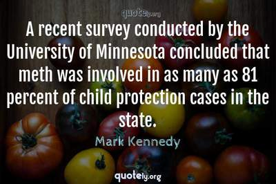 Photo Quote of A recent survey conducted by the University of Minnesota concluded that meth was involved in as many as 81 percent of child protection cases in the state.