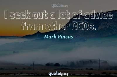 Photo Quote of I seek out a lot of advice from other CEOs.