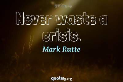 Photo Quote of Never waste a crisis.