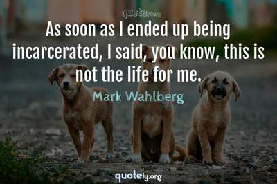 Photo Quote of As soon as I ended up being incarcerated, I said, you know, this is not the life for me.