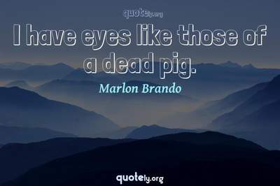 Photo Quote of I have eyes like those of a dead pig.