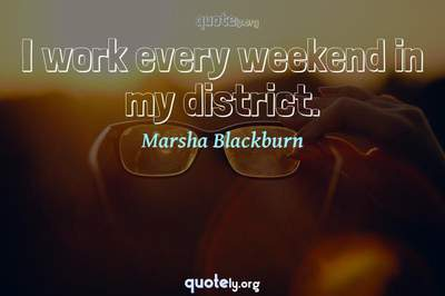 Photo Quote of I work every weekend in my district.