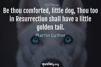 Photo Quote of Be thou comforted, little dog, Thou too in Resurrection shall have a little golden tail.