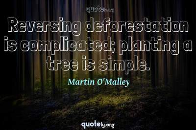 Photo Quote of Reversing deforestation is complicated; planting a tree is simple.
