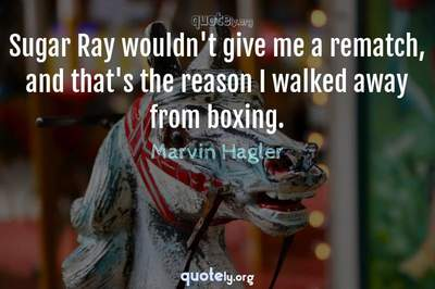Photo Quote of Sugar Ray wouldn't give me a rematch, and that's the reason I walked away from boxing.