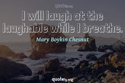 Photo Quote of I will laugh at the laughable while I breathe.