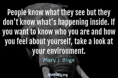 Photo Quote of People know what they see but they don't know what's happening inside. If you want to know who you are and how you feel about yourself, take a look at your environment.