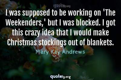 Photo Quote of I was supposed to be working on 'The Weekenders,' but I was blocked. I got this crazy idea that I would make Christmas stockings out of blankets.