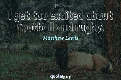 Photo Quote of I get too excited about football and rugby.