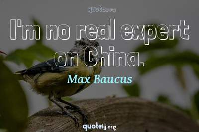 Photo Quote of I'm no real expert on China.