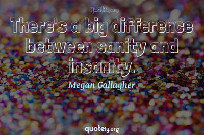 Photo Quote of There's a big difference between sanity and insanity.