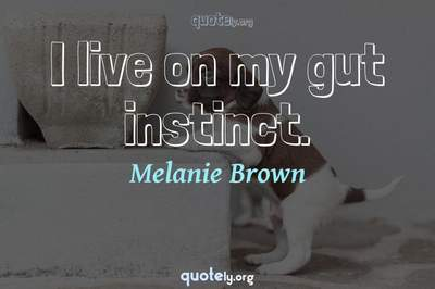 Photo Quote of I live on my gut instinct.