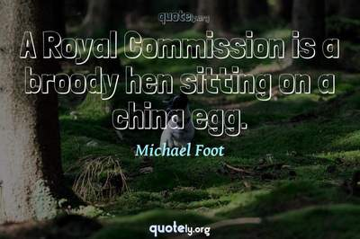 Photo Quote of A Royal Commission is a broody hen sitting on a china egg.