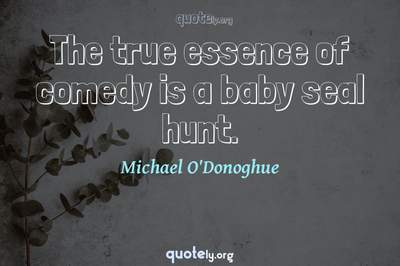 Photo Quote of The true essence of comedy is a baby seal hunt.