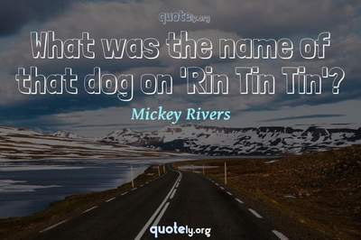 Photo Quote of What was the name of that dog on 'Rin Tin Tin'?