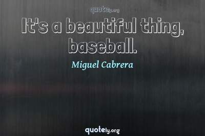 Photo Quote of It's a beautiful thing, baseball.