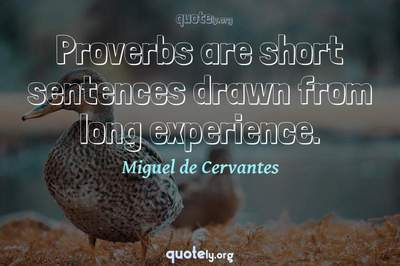 Photo Quote of Proverbs are short sentences drawn from long experience.