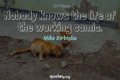Photo Quote of Nobody knows the life of the working comic.