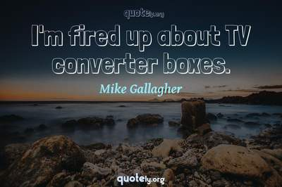 Photo Quote of I'm fired up about TV converter boxes.