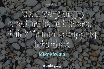 Photo Quote of It's a very angry electorate out there. I think Trump is tapping into that.