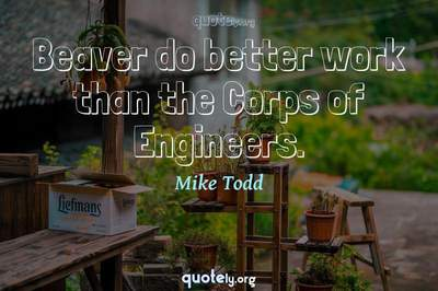 Photo Quote of Beaver do better work than the Corps of Engineers.