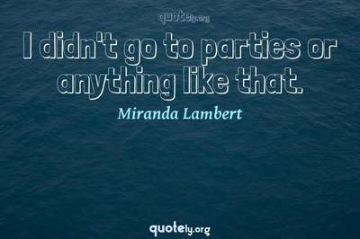 Photo Quote of I didn't go to parties or anything like that.