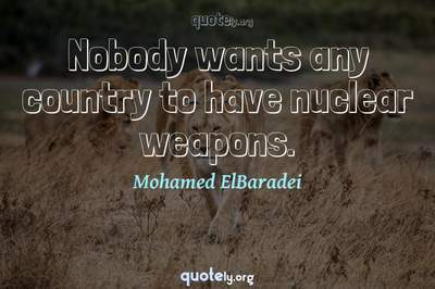 Photo Quote of Nobody wants any country to have nuclear weapons.