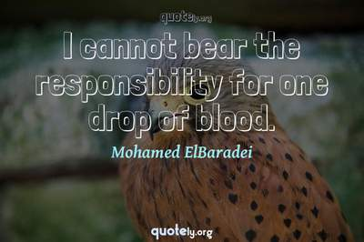 Photo Quote of I cannot bear the responsibility for one drop of blood.