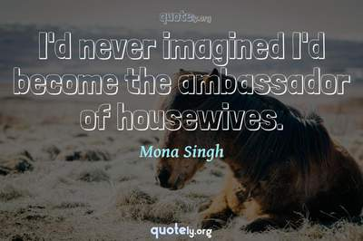 Photo Quote of I'd never imagined I'd become the ambassador of housewives.