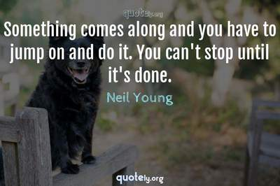 Photo Quote of Something comes along and you have to jump on and do it. You can't stop until it's done.