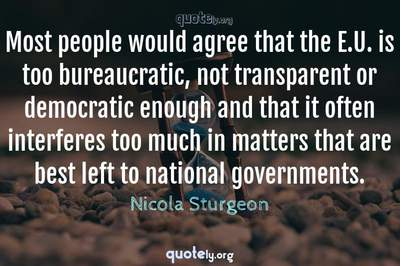 Photo Quote of Most people would agree that the E.U. is too bureaucratic, not transparent or democratic enough and that it often interferes too much in matters that are best left to national governments.