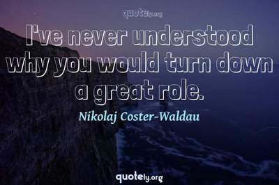 Photo Quote of I've never understood why you would turn down a great role.