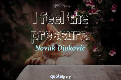 Photo Quote of I feel the pressure.