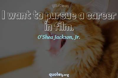 Photo Quote of I want to pursue a career in film.