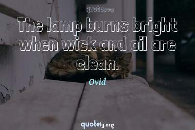 Photo Quote of The lamp burns bright when wick and oil are clean.