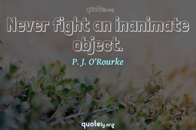 Photo Quote of Never fight an inanimate object.