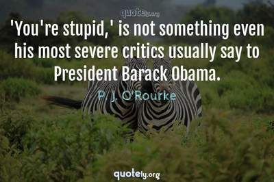Photo Quote of 'You're stupid,' is not something even his most severe critics usually say to President Barack Obama.