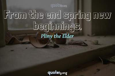 Photo Quote of From the end spring new beginnings.