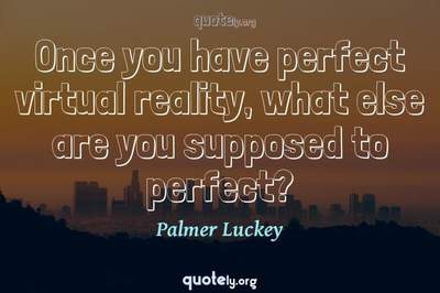 Photo Quote of Once you have perfect virtual reality, what else are you supposed to perfect?