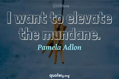Photo Quote of I want to elevate the mundane.