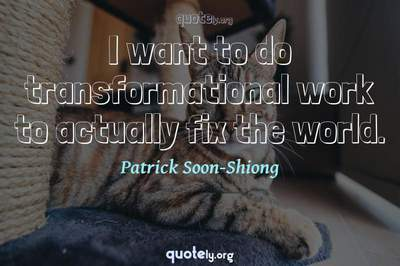 Photo Quote of I want to do transformational work to actually fix the world.